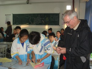 students visiting chinese middle school new century tianjin